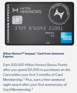 Amex Hilton Surpass 100k Anniversary Weekend Night