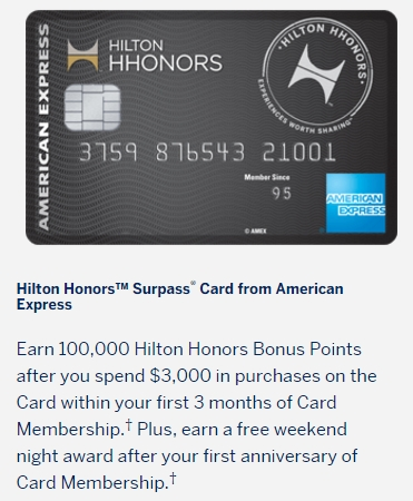 Amex Hilton Surpass 100k Anniversary Weekend Night