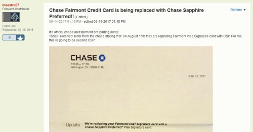 Chase Fairmont to Chase Sapphire Preferred