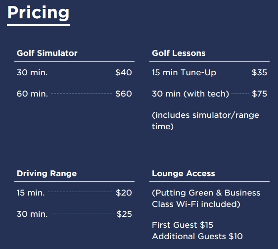 PGA MSP Lounge Golf Experience Pricing