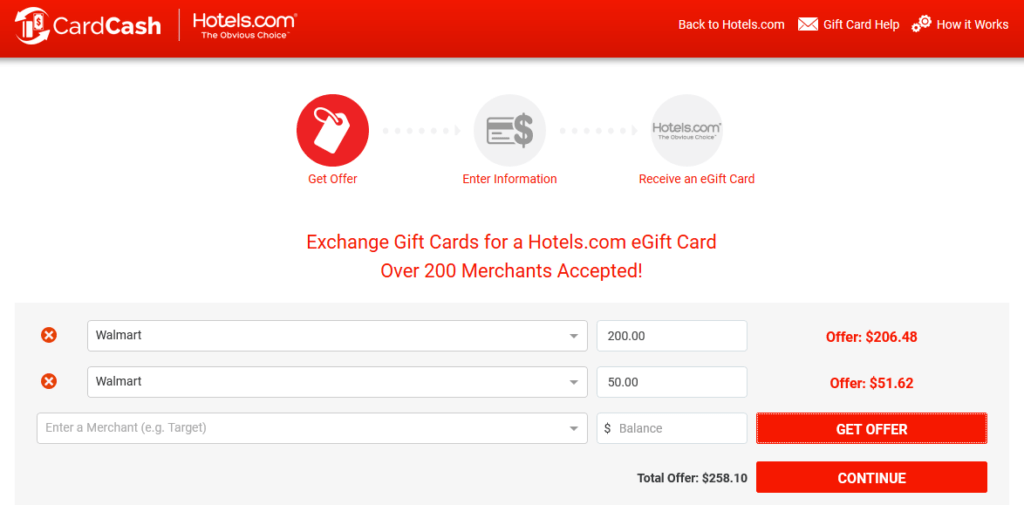 Hotels.com Exchange Gift Cards Walmart.com