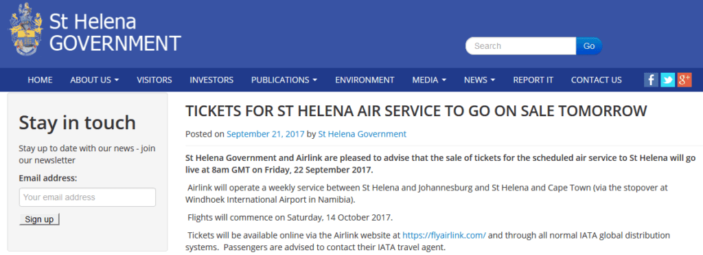 St Helena Flights Go on Sale