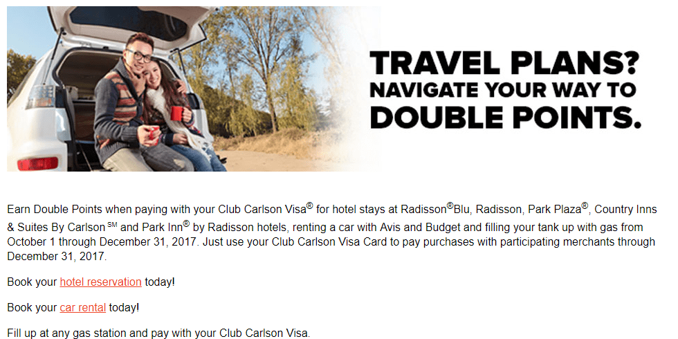 Club Carlson Visa Double Points Q4 2017