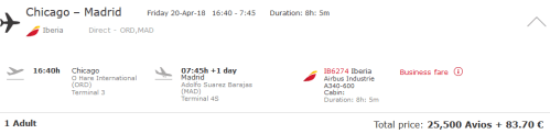 Iberia Avios ORD-MAD April 2017