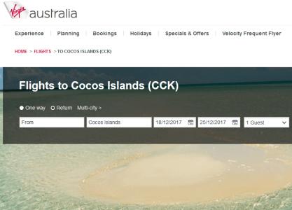 Virgin Austtralia Vacations Cocos Islands