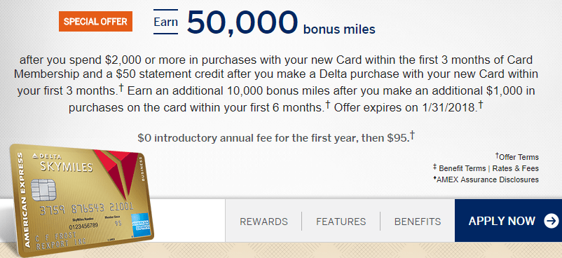 Amex Delta Gold Business 60k January 2018