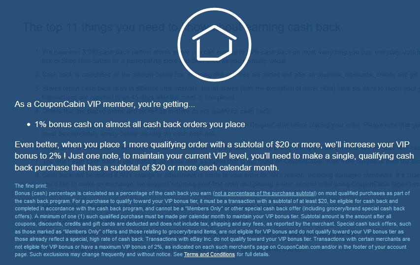 CouponCabin VIP Bonus