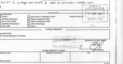 RANARISON Tsilavo a signé la totalité des 76 avis de virement d'un montant de 1.047.060 euros qu'il est estime dans sa plainte du 20 juillet 2015 comme sans contrepartie