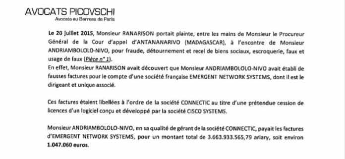 RANARISON Tsilavo, simple associé, accuse Solo d'avoir fait virer 1.047.060 euros de la société CONNECTIC à la société française EMERGENT NETWORK