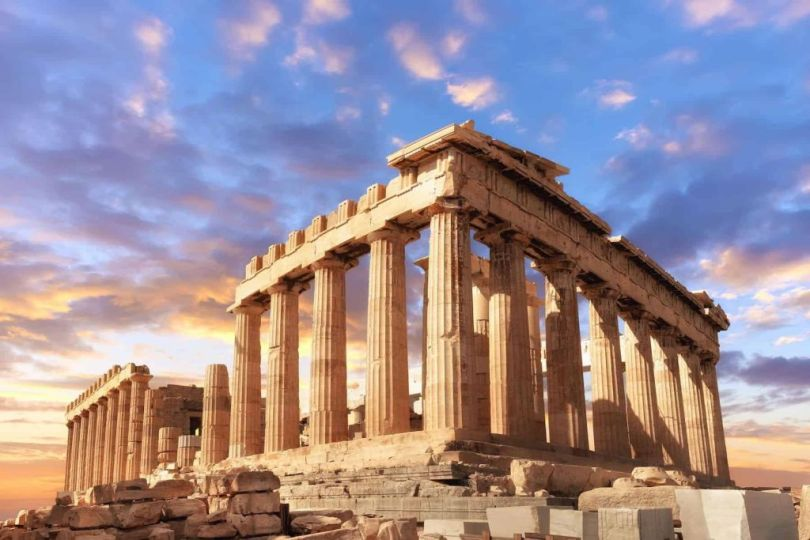 Greek slang words: The ruins of the Acropolis on a sunny day