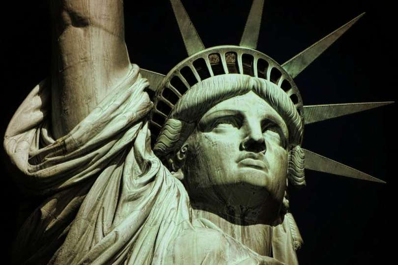 Languages of New York: a worm's eye view of the Statue of Liberty at night
