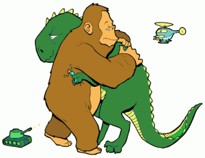 Monkey-hugging-dinosaur-300x231