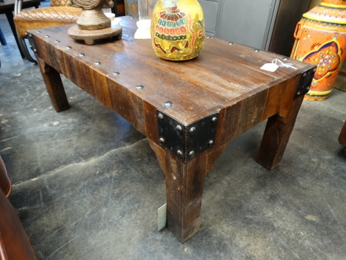reclaimed wood coffee table with metal accents