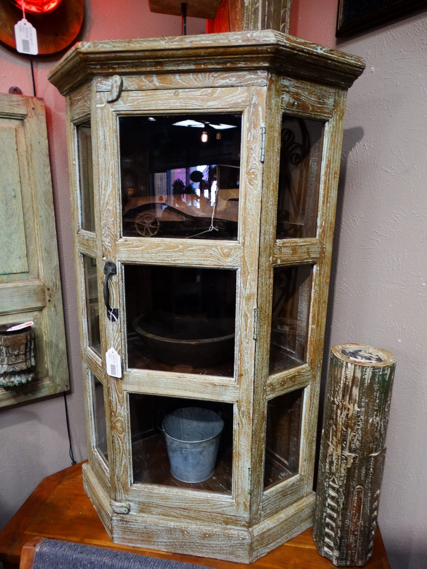 Wood and Glass Cabinet has rustic charm with visible storage. on Corner Sconce Shelf Cabinet id=85460