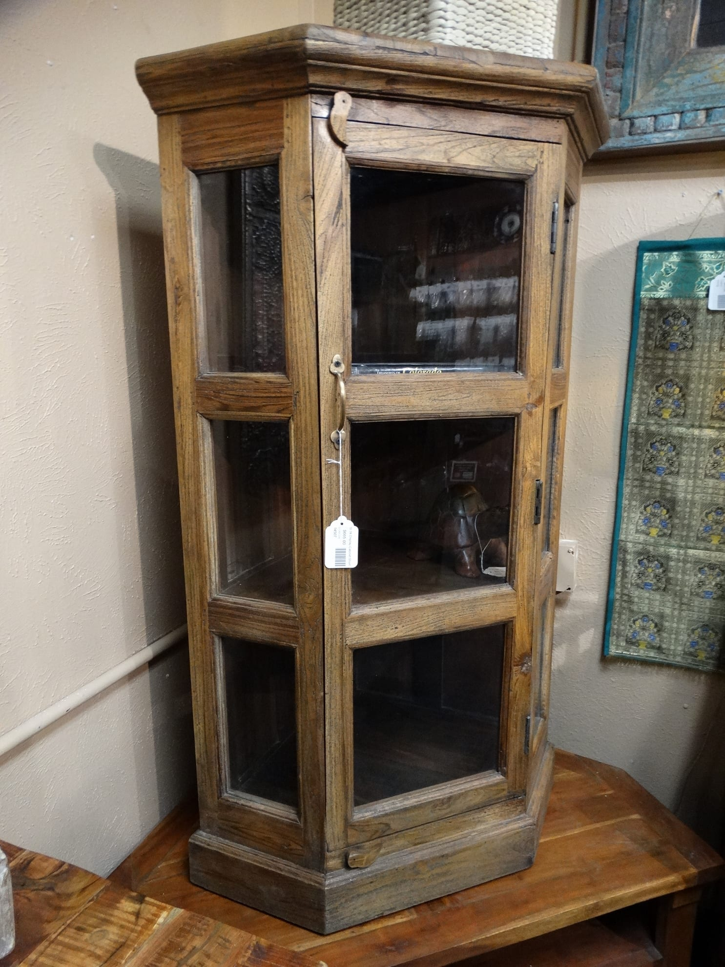 Wood and Glass Corner Cabinet has a natural finish and 3 ... on Corner Sconce Shelf Cabinet id=24265