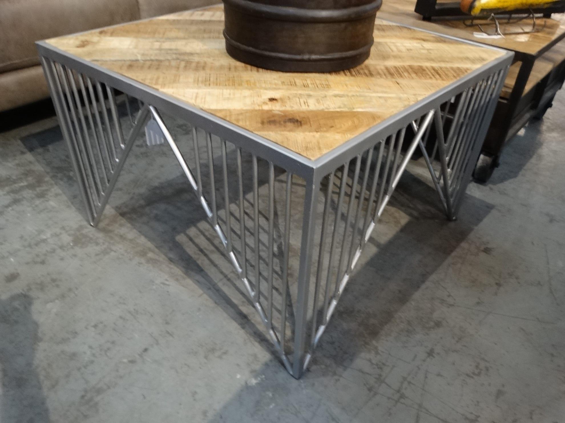 coffee table metal bridge base wood top coffee table