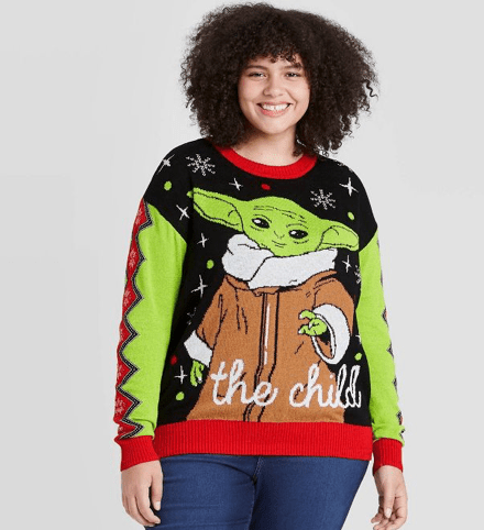 Women's Star Wars Baby Yoda Holiday Pullover Sweater - Black