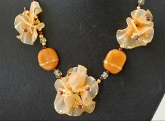 Translucent polymer clay Butterscotch flower necklace