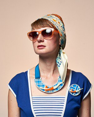 Lido print silk scarf and jewellery by Lou Taylor