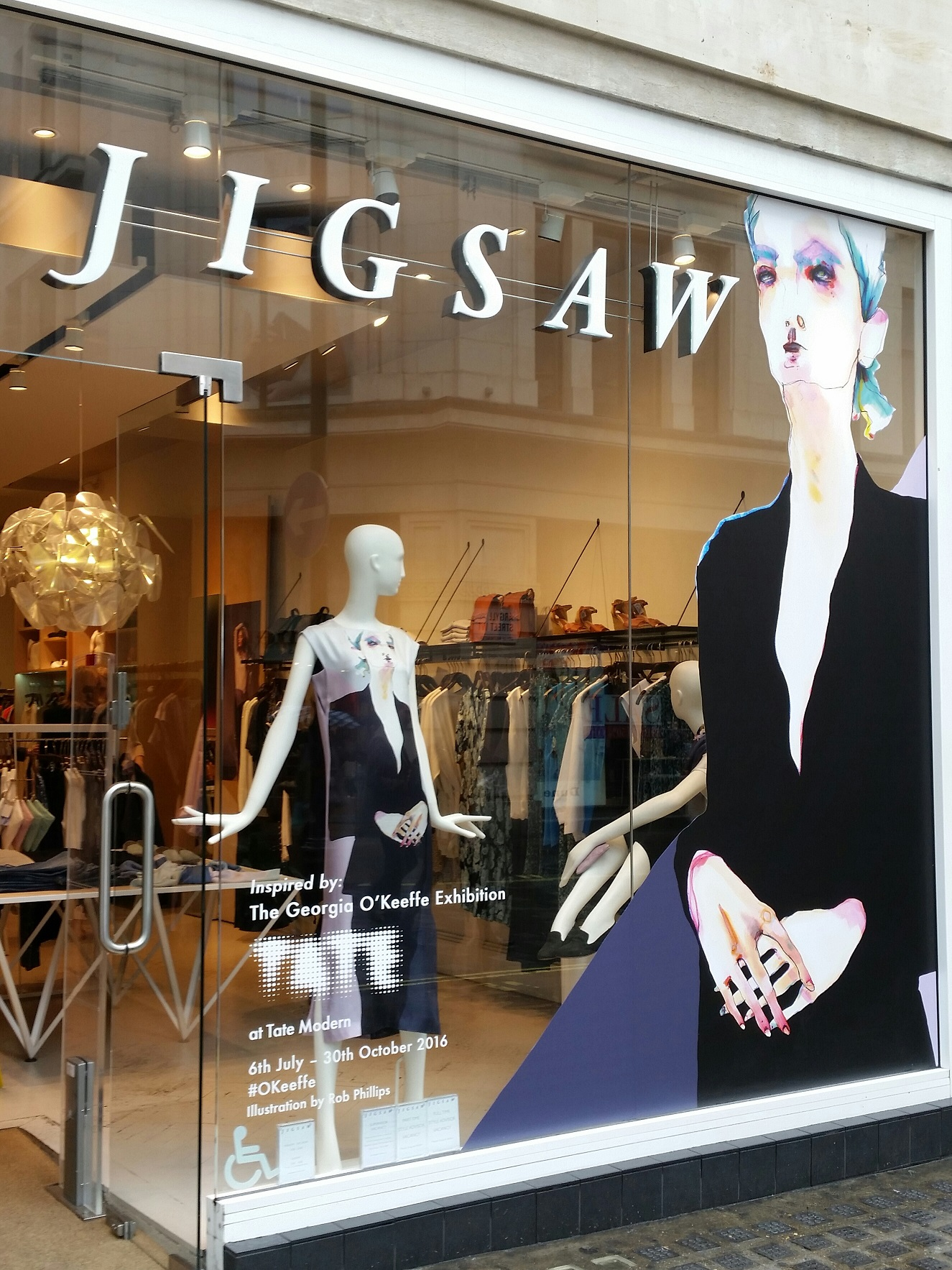Rob Phillips' illustration in the window of Jigsaw, Argyll Street