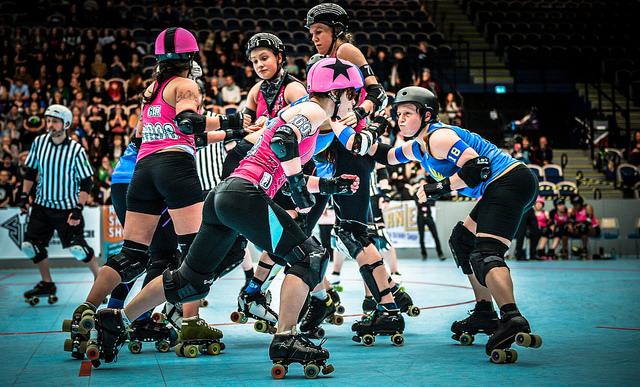 London Brawling All-Stars vs Stockholm Roller Derby All Stars. Photography by John Hesse