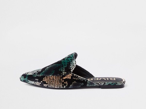 River Island blue snake print backless loafers