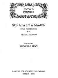 Paganini, Niccolo (Ricci)Sonata in A Major Opus Posthumus for Violin & Piano
