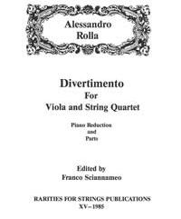 Rolla, Alessandro (Sciannameo)Divertimento for Viola & String Quartet(Piano Reduction and Parts)