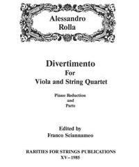 Rolla, Alessandro (Sciannameo)Divertimento for Viola & String Quartet(Piano Reduction and Parts)(PDF Download)