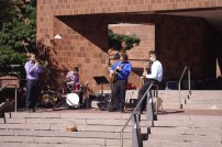 Jazz band inspiring the chalk artists