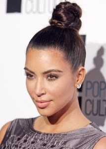 Kim K is rocking a beautiful up do bun