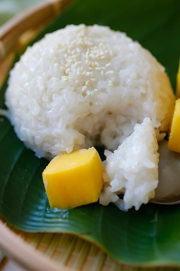 mango sticky rice a popular sweet with coconut milk and fresh mangoes