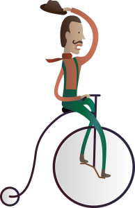 man on old cycle
