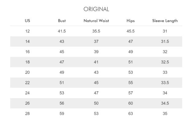 ELOQUII Size Chart
