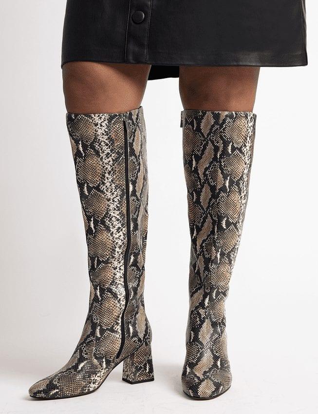 Snakeskin Wide Calf Boots