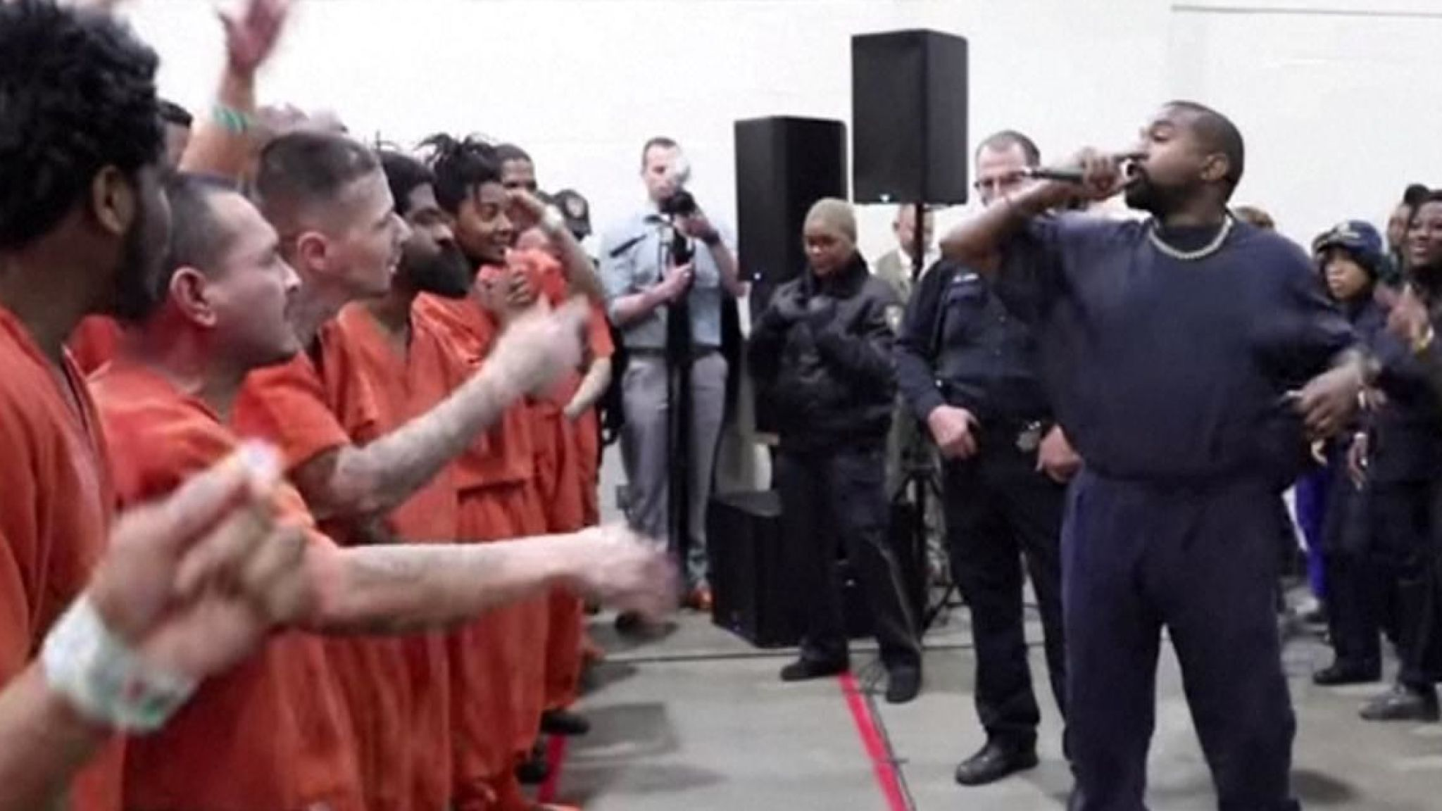 Kanye West performs Jesus is King to tearful prison inmates at Texas jail
