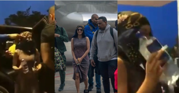 VIDEO: Cardi B Covers Her Nose With A Scarf After Arriving In Nigeria, Lagos