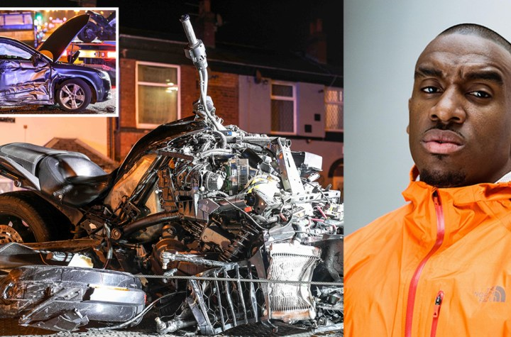 Rapper Bugzy Malone smashes his motorbike into a car and flies through the air to be left lying injured in wreckage in crash caught on CCTV