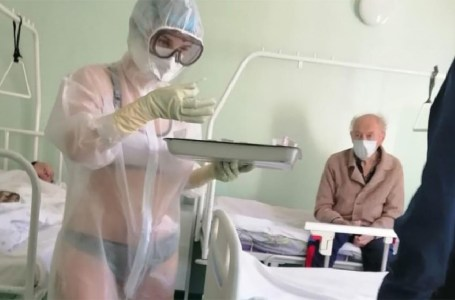 Russian nurse wears only bikini under transparent PPE gown in male hospital ward, says she was feeling 'too hot'