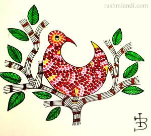 Bird in a bush in Gond Art