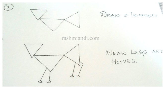 Draw the limbs with hooves.Limbs are drawn as lines and hooves are drawn as small triangles.