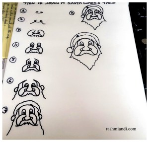 Pictorial representation on how to draw Santa Claus's face.