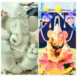Ganesh Idol for the festival in 2015 using Crayola Air Dry Clay!