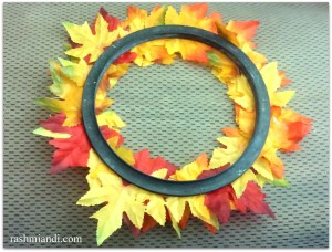 Reusing an old Pressure cooker gasket for making a Fall Wreath