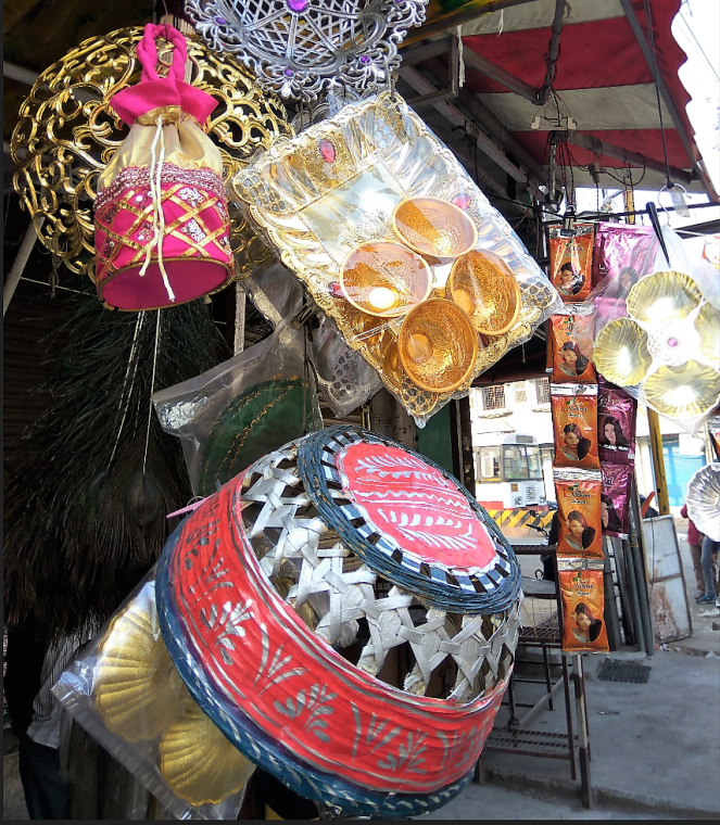 Shops selling wedding items in old city