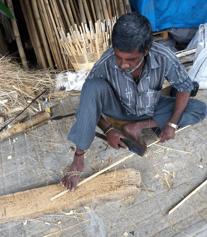 Slicing the bamboo into strips