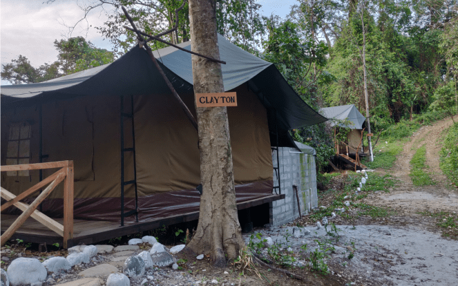 Inside Abor country river camp