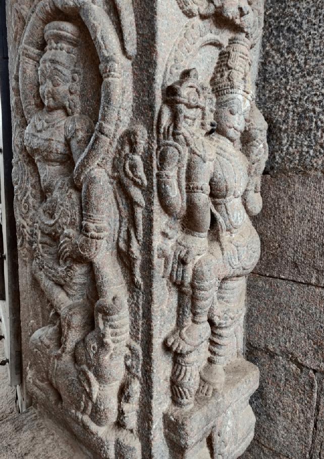 Decorated Pillars inside Chennakeshava temple in Kaidala