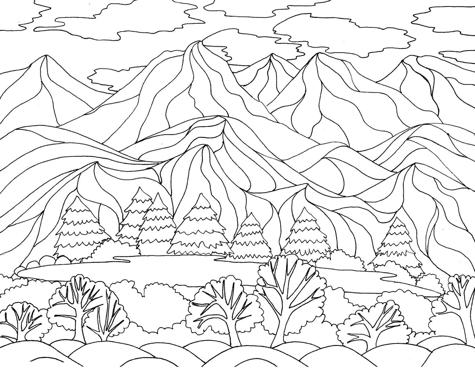 Disegni Da Colorare Natura Paesaggio Foresta Montagne