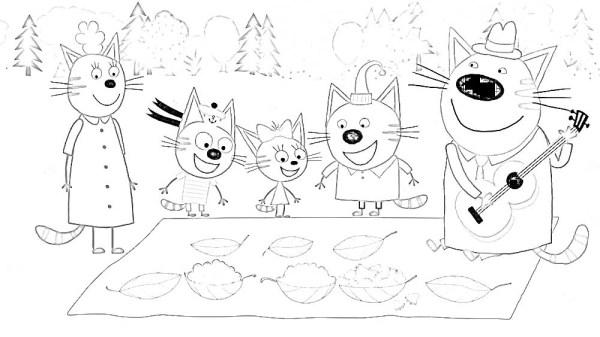 Раскраски из мультфильма Три кота скачать и распечатать